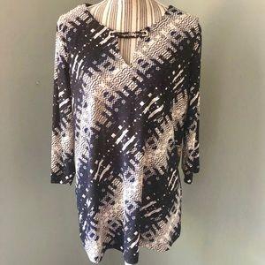DANA BUCHMAN 3/4 Sleeve Geo Print Tunic